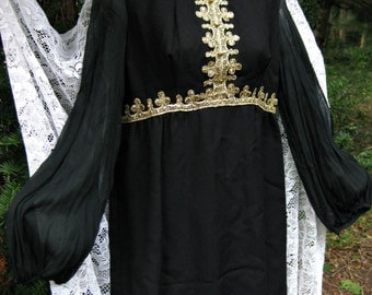 GOTHIC BAROQUE, Sgt Peppers Beatlemania black gold Goth dress, vintage 1960s dress, 60s black dress, gold Ace of Spades dress