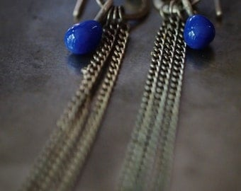 Original handmade glass drop and chain dangle earrings