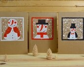 Set of 3 Christmas cards  'Winter Friends' -Frosty the Snowman Family - original linoleum print - matching envelope - blank