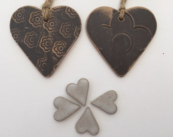 FREE SHIPPING- Loveheart Hanger, set of 2, gift idea, one off hand made pottery