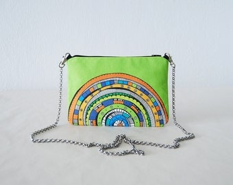 green small bag colorful printed design clutch bag green print handbag mini bag clutch bag design small cross body bag cotton canvas chain