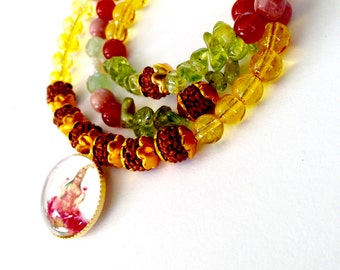 The Goddess Necklace, Lakshmi necklace, Bohemian yogini necklace with Rudraksha, Carnelian, Citrine, Peridot, Pearls and Rhodochrosite