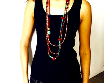 Multi strand boho beaded necklace, Long and Layered Tribal necklace with Turquoise and Bamboo Corals, hippie ethnic necklace
