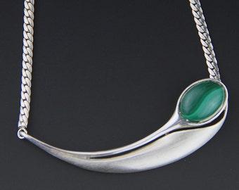 Modernist Necklace - Malachite Necklace - Vintage 1970s - Sterling Silver Necklace - Malchite Pendant -