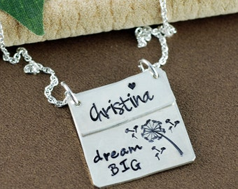 Dream Big Necklace, Name Necklace, Gift for Daughter, Motivational Necklace, Mom Necklace, Have Courage, graduation gift, gift for Graduate
