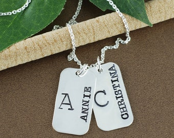 Personalized Dog Tag Necklace | Hand Stamped Necklace | Personalized Name Necklace | Personalized Jewelry | Dog Tag Jewelry | Gift for Her