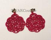 Hoop Earrings Fuchsia Pink Wood Filigree Earrings Bohemian Earrings Handmade Earrings Lightweight - Clip on or Pierced