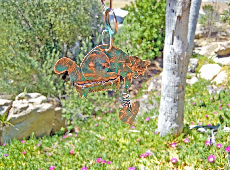 Cat garden decorative hanger metal yard art by for Cat yard art
