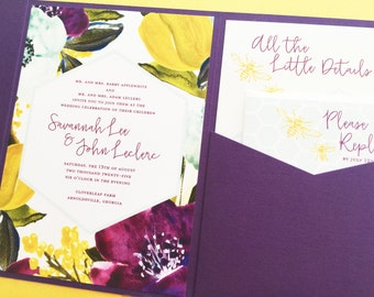 Purple Floral Wedding Invitation, Pocket Fold Wedding Invitation, Pocket Invitation, Pocketfold Wedding Invite Invitation Suite Set