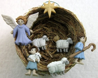 Angel of the Lord Singing While Shepherds Watch Their Flocks By Night Christmas Ornament 210