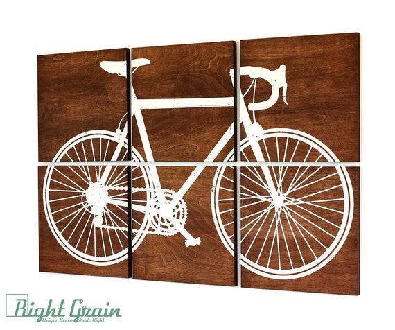 Large Road Bike Screen Print - Large Bicycle Wall Art - Custom Made Gift Idea
