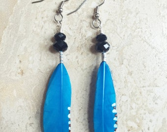 Blue Feather Earrings - Painted Tribal Feather Earrings (Ready to Ship)