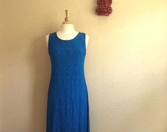 Vintage ULTRAMARINE Blue FLORAL Sleeveless Maxi Dress / K Studio / Womens Large