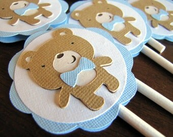 Teddy Bear Party Cupcake Toppers, Teddy Bear Birthday Party, Teddy Bear Baby Shower, Boy Bear Cupcake Toppers, Boy Baby Shower, Set of 12