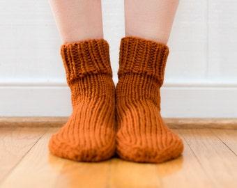 Hand Knit Wool Socks, Women's Size 6/7, Knitted Ankle Socks in Burnt Orange (2002)