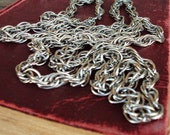 Vintage Long Chain Necklace 1960s Antique Silver Layered Gypsy Linked Chain Versatile Modernist Style Costume Jewelry