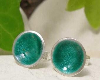 Emerald Green Enamel Stud Earrings, May Birthday Jewelry, Green Enamel Dome Post Earrings, Sterling Silver Earrings, Summer Beach Jewelry