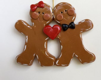 Personalized Gingerbread Couple Christmas Ornament/ couples ornament
