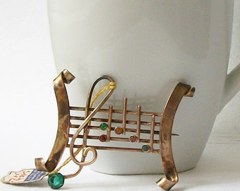 Vintage ENZELL Sterling Musical Note Brooch Music Note Brooch