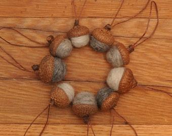 Gray Felted Acorns,  Set of 9 Acorns OR Acorn Ornaments in Grey Wools