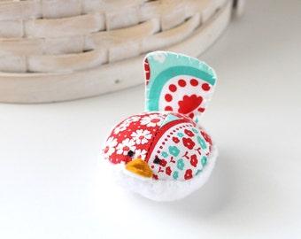 Red and Aqua Bird Pincushion Floral Pin Keep Small Pin Cushion Cute Handmade Pincushion