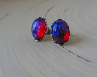Dragon Breath Earrings - studs - Fire Opal