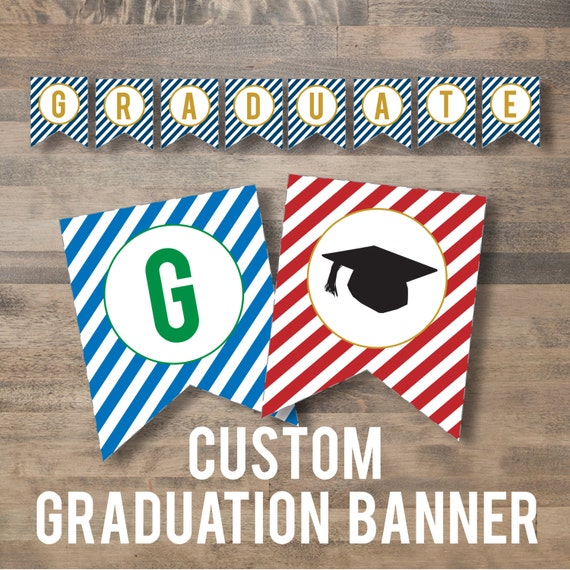custom GRADUATION banner diy printable by simplypchee on Etsy