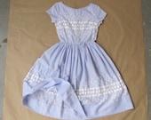 1950s vintage lilac cotton cutwork dress