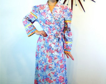 1940s Robe/ Vintage 40s Housecoat/ Red White & Blue/ Cotton Bathrobe/ Puff Shoulder/ Long Sleeve Dressing Gown/ 1940s Morning Dress/ Size L