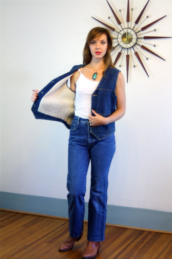 Vintage 70s Denim Shearling Vest Country Western Faded Wash Blue Jean Unisex Top Chambray Brass Button Down 1970s Sleeveless Jean Vest Shirt