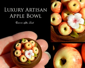 Luxury Ooak Apple Bowl - Artisan fully Handmade Miniature in 12th scale. From After Dark miniatures.