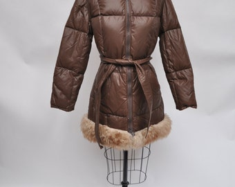 vintage down canadian trail squire coat womens small 1970s hooded