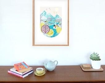 Wall Decor, Wall Art Print, Home Decor, Nursery Art, Scattered Showers: Art Print, Imaginary landscape, Art for child's room, Style LPPSS01