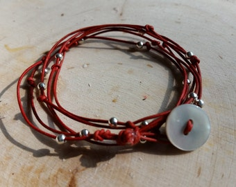 Simple Red Leather and Silver Wrap Bracelet