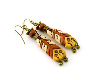 Bohemian Tribal Earrings - Antique Brass Earrings - Artisan Earrings - Boho Earrings - Red Yellow White - Polymer Earrings - Big - AE071