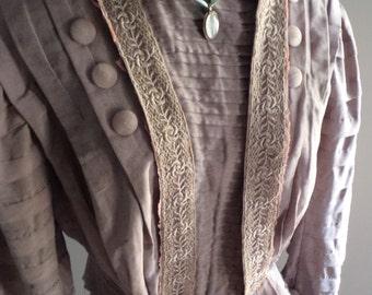 victorian costume, victorian blouse, victorian bodice, edwardian top, edwardian blouse, silk blouse, NEEDS TLC