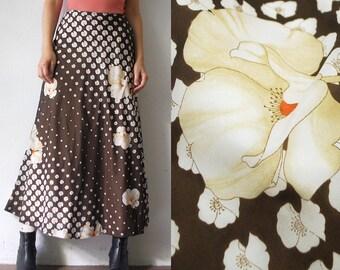 70s maxi skirt. floral skirt - xs
