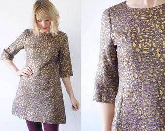 60s gold brocade dress. a line metallic dress. iridescent 60s mini dress - small