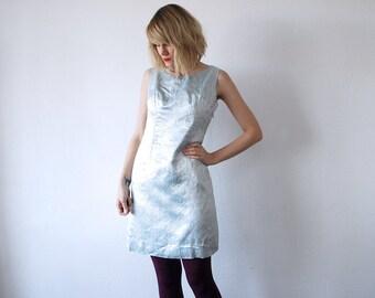 60s brocade dress. pastel ice blue shift dress. 60s sleeveless party dress - small to medium