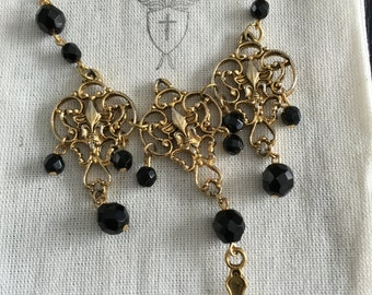 Ladies Handmade Vintage Material Black and Gold Statement Necklace with Crucifix