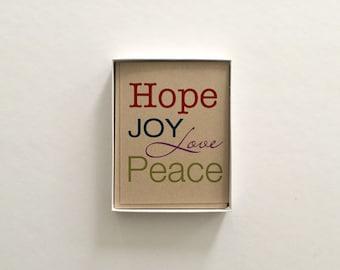 Hope Joy Love Peace Boxed Set of 8 - Christmas Holiday Card