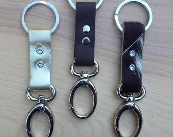 leather key ring. keychain. key fob.