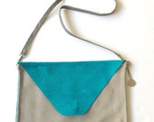 Teal Light Gray Color Block Suede Leather Envelope Cross Body - LARGE