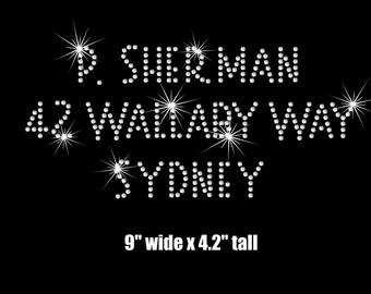 "9"" Finding Nemo P. Sherman iron on rhinestone transfer applique patch"