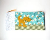 """Zipper Pouch, 10.5 x 4.25"""" in teal, gold, green, white, brown and blue floral print Fabric with Handmade Felt Lab Dog, Labrador Pencil Case"""