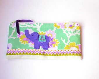 """Zipper Pouch, 4.75x9"""" in purple, mint green, lime, orange, lilac and cream floral print fabric with Handmade Felt Elephant Embellishment"""