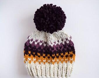 Hat Knitting Pattern // Fair Isle Pom Pom Hat Pattern // Hat Pattern for Kids // Knitting Patterns for Women