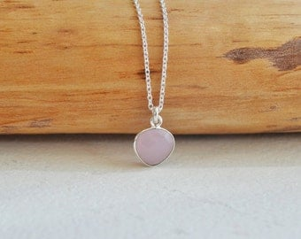 Delicate Natural Rose Chalcedony Charm Necklace, Sterling Silver Charm Necklace, Layering Necklace, Gemstone Pendant