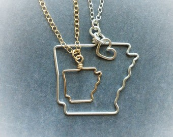 Arkansas Necklace - Arkansas State Necklace - State Necklace - Arkansas Outline Necklace - State Outline Necklace - Home State Necklace
