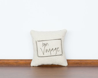 Bon Voyage TinyTalk Pillow | Gift for Traveler | Memorable Gift | Unique Present for him | Farewell Present | Moving gift | See you later